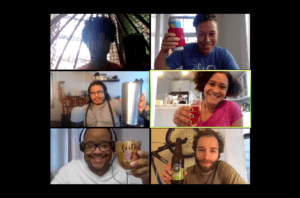 6 people in zoom setting holding up drinks and smiling